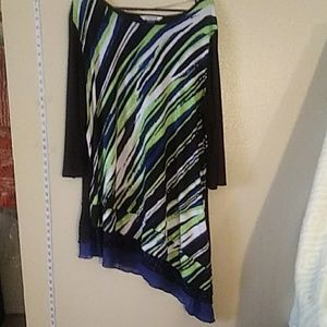 Nygard blouse black green blue and white 2x
